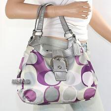 NWT Coach Soho Scarf Print Shoulder Bag Hand Bag Hobo F17406 Purple Multi RARE