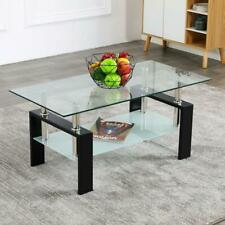 Modern Side Highlight Glass Top Coffee Table w/Shelf Living Room Rectangle New