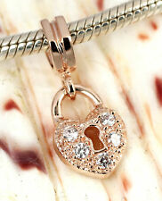 SOLID 9CT 9K ROSE GOLD Love HEART LOCK Charm BEAD with 5 CZ For Bracelet / Chain