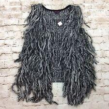 Material Girl Vest Sweater XS Black Fringe Crochet Sleeveless Juniors Open Front
