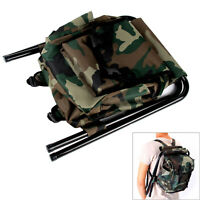 2in1 Oxford Fishing Tackle Backpack Bag Camping Foldable Stool Seat Chair UK
