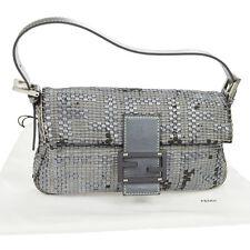 100% Authentic FENDI Logos Mamma Baguette Shoulder Bag Silver Leather BT12385