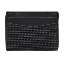 Diamond Emboss Card Holder 100% Leather Black Burton
