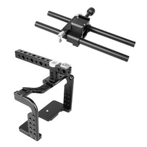 Andoer Video Camera Cage Rig Stabilizer with  Handle Baseplate 15mm Rod I6Q6