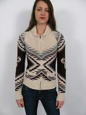 TNA ARITZIA SEA TO SKY LAMBS WOOL COWICHAN KNIT LOGO INDIAN SWEATER JACKET~XS