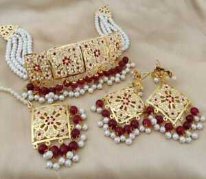 Indian Women Necklace Set With Forehead Jewelry Gold Plated Wedding Fashion Gift