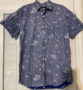 Men's Corona Extra Beer Sz M Button Front Shirt Casual Light Blue Reverse Print