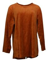 Denim & Co. Women's Plus Sz Top 1X Active Regular Velour Tunic Orange A260064