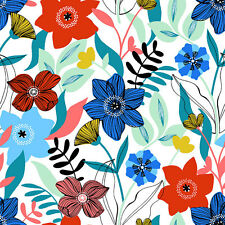 Modern Scandi Blue Red & Green Floral Fabric Sold Per 1/2 Metre 100% Cotton