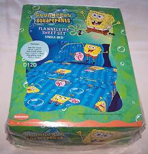SpongeBob Squarepants Bubbles Blue Single Bed Flannelette Flannel Sheet Set New