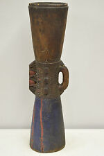 Papua New Guinea Etched Wood Hand Carved Blue Red Musical Drum