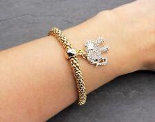 Armband in Gold Farbe Armreif Elastisch in Gelbgold Elefant Zirkonia Kristall