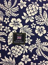 Navy Hawaiian Palm Tree & Pineapple Printed 100% Cotton Poplin Fabric.