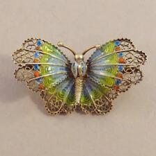 Vintage Filigree Silver & Enamel Butterfly pin