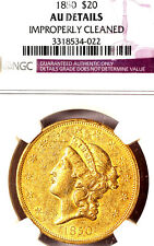 1850 $20 AU-DETAILS-Improperly Cleaned-Liberty Head-TRENDS $7500