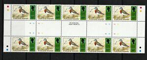 FALKLAND IS. 1975 SHEET, 10 VALUES AT 35p BIRDS.   M.N.H.