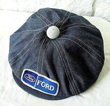 SUPER RARE VTG Ford Denim White Stitched Patch Made USA Snapback Newsboy Hat Cap