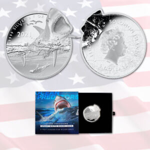 2021 GREAT WHITE SHARK  2 Oz Silver Solomon Islands $5 Coin  (Ocean Predators)