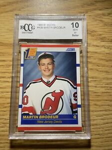 1990-91 SCORE BLUE ROOKIE GRADE BCCG 10 MINT MARTIN BRODEUR NUM 439 HOCKEY CARDS
