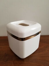 "80's Deco Style Acrylic Tissue Box Cover White & Brass Detail 6"" x 6"""