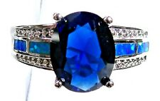 Silver 925 SF Size 10 Ring Blue Lab Fire Opal & 10*8mm Blue Sapphire