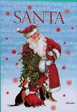 Santa with Singing Dogs and Cardinal - House Size Flag