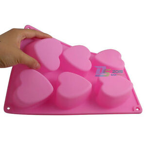 6 Love Heart Silicone Cake Chocolate Muffin Baking Mould Jelly Pudding Soap Mold