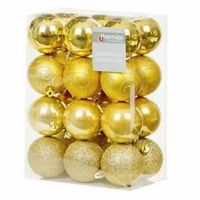 Christmas Tree Decoration 24 Pack 60mm Shatterproof Baubles - Gold