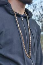 """Brand New Luxury Men's 24K Solid Gold gf Long Cage Link Chain 36"""" XL"""