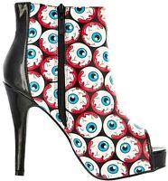 Iron Fist Peeping Tom Eyeballs Allover Punk Goth Platform Bootie Shoes Size 7-10