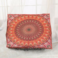 Indian Pouf Ottoman Cover Peacock Mandala Square Floor Cushion Pillow Pet Bed
