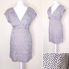 Joules Mini Dress UK 10 Polka Dot White Blue V Neck Tunic POCKETS Summer Cotton
