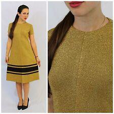 Vintage 60's Mod Solid Gold Metallic Black Stripe Knit Shift Dress Kimberly