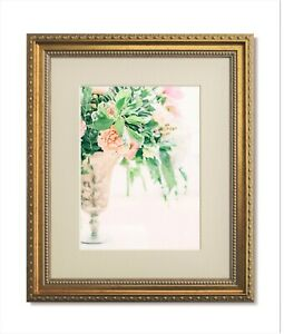 8x10 Traditional Ornate Gold Frame, Clear Glass & Warm White Mat for 5x7