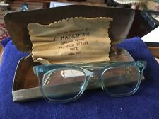 Vintage Retro Blue 1950s 1960s Glasses Spectacles In Original Case With Cloth
