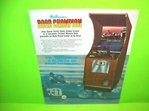 Williams ROAD CHAMPION Original 1977 Video Arcade Game Flyer Race Car Driving