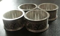 SET OF 4 VINTAGE SILVER PLATED NAPKIN RINGS