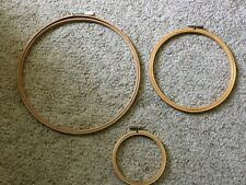 Lot Of 3 Vintage Round Wooden Embroidery Hoops 4� - 7� - 10�
