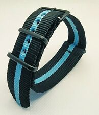 22 mm Nato Strap Correa Reloj Nylon Watch band Azul y negro Blue and black