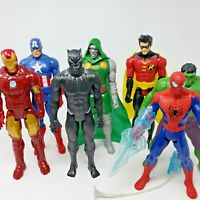 """Marvel and DC Lot of 7 12"""" Characters Captain America Iron Man Hulk B. Panther"""