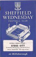 Football Programme - Sheffield Wednesday v Stoke City - Div 1 - 30/11/68