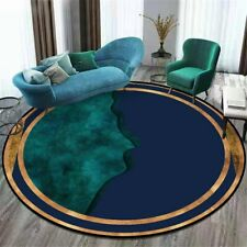 Nordic Style Round Carpet Blue Green Stitching Pattern Decor Rug Room Area Rugs