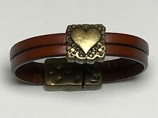 7 inch Brown Dual Strand Italian Leather Bracelet with Strong Magnetic Closure
