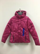 SPYDER WOMEN HOODED DOWN JACKET - PINK - LARGE