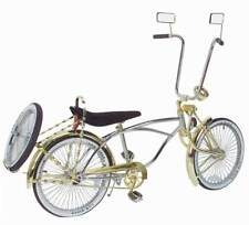"20"" Lowrider Deluxe Bike Chrome-Gold with 72 spokes Bent Fork w Continental Kit"
