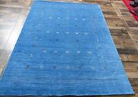 """5'10""""x7'9"""" New Best Quality Wool Lori Buft Super Gabbeh Oriental Tribal Blue Rug"""
