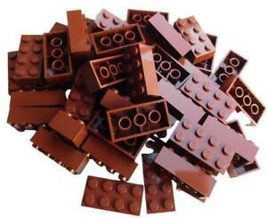 Lego 50 Stück braune (reddish brown) Steine 2x4 Basicsteine (3001) Neu Basics