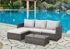 Rattan Garden Furniture 4 Seater Corner Sofa Wide Table Lounge Outdoor Patio Set