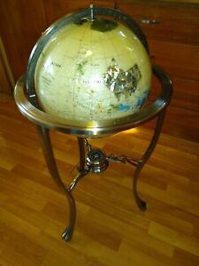 Mother Of Pearl Gemstone Floor Globe