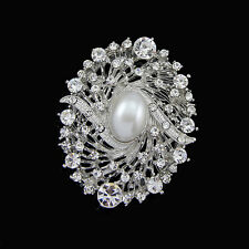 Vintage Style Rhinestone Crystal Wedding Bridal Bouquet Oval SHape Brooch Pin